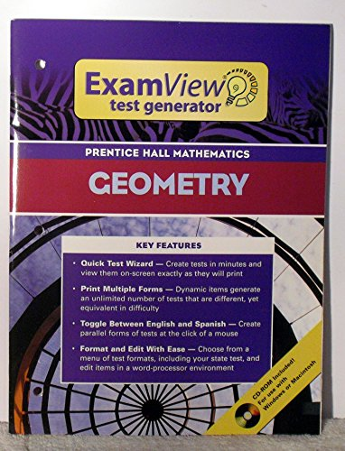 PRENTICE HALL MATH GEOMETRY EXAMVIEW TEST GENERATOR BOOKLET WITH CD     2004C