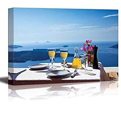 Canvas Prints Wall Art - Beautiful Scenery of a Table Above Sea in Greece, Santorini Island | Modern Wall Decor/Home Art Stretched Gallery Canvas Wraps Giclee Print & Ready to Hang - 24