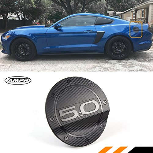 Cuztom Tuning Fits for 2015-2017 Ford Mustang Carbon Fiber Texture Add-on Gas Fuel Door Cover Trim Cap W/ 3D 5.0 Letter