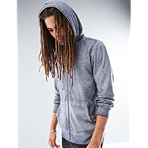 Rebel Canyon Young Men's Full-Zip Burnout Hoodie Sweatshirt Large Navy Heather