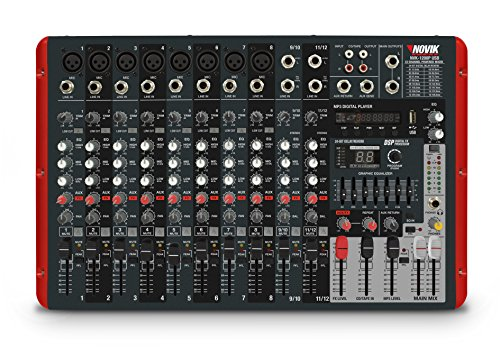 NOVIK NEO Mixer NVK 1200P Usb 12 Channel Powered Mixer,MP3, WAV and WMA files, 1200W+1200W Peak Power, DSP with internal effects,Graphic Equalizer by NOVIK NEO