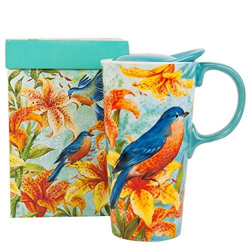 Travel Coffee Ceramic Mug Porcelain Latte Tea Cup With Lid in Gift Box 17oz. Magpie Bird by CYPRESS