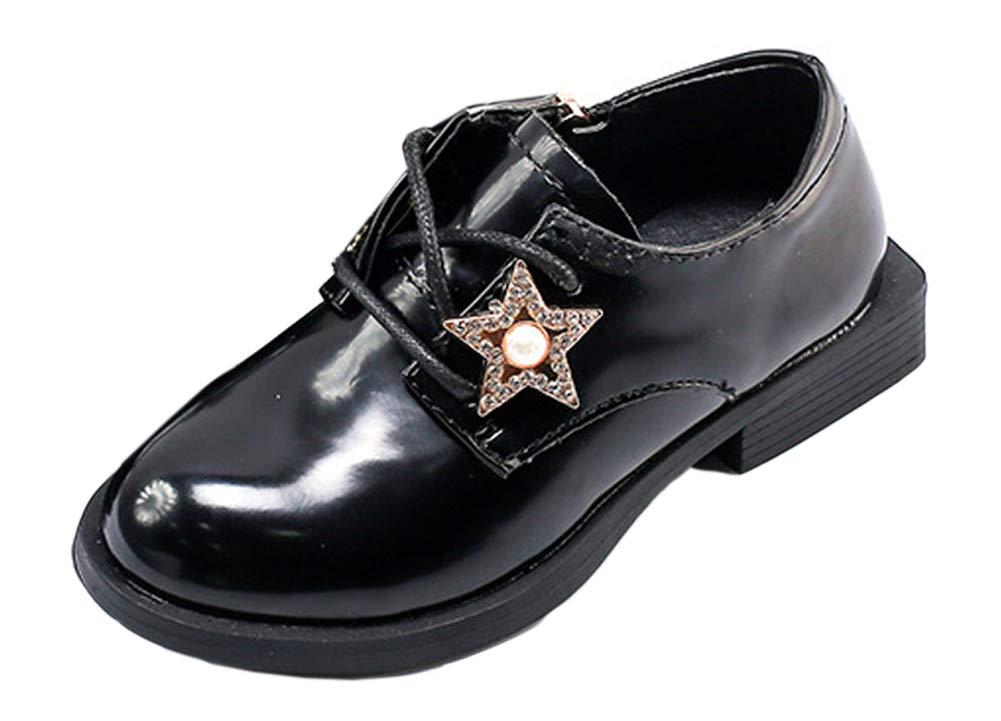 iDuoDuo Girls Cute Rhinestones Lace up Oxford Flats Uniform Dress Party Leather Shoes Black 2.5 M US Little Kid