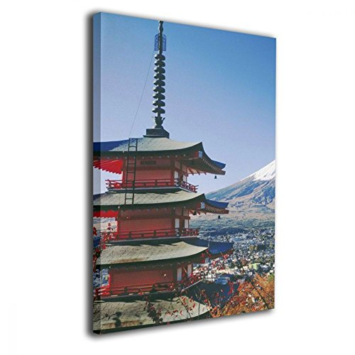 TRdY Page Mt Fuji Japan Painted Canvas Inner Framed Wall Decor Modern Artwork for Office Home Decor Pictures Ready to Hang for Living Room Bathroom - Fuji Framed