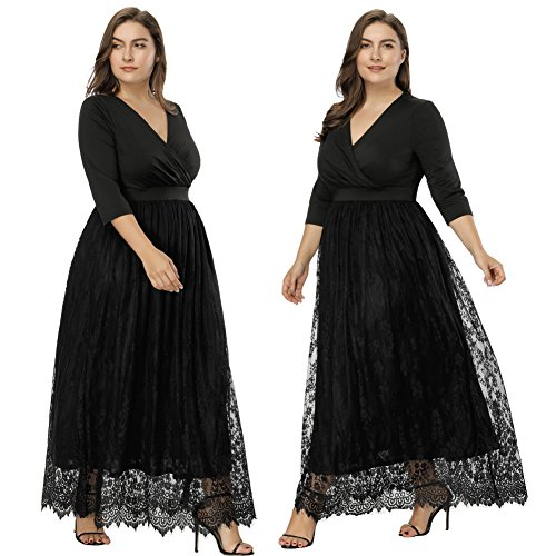 Hanna Nikole Womens Plus Size Lace 3/4 Sleeves Evening Gown Party Long Maxi Dress HN0038