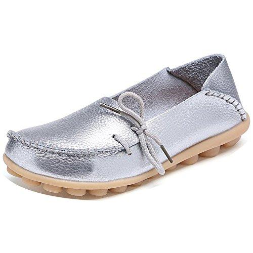 Lonsoen Femmes Mocassin Chaussures De Conduite Casual En Cuir Solide Mocassin Et Glisser Sur Les Bateaux Appartements Argent