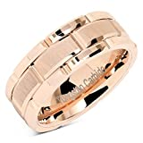 100S JEWELRY Tungsten Rings For Mens Wedding Band Rose Gold Brick Pattern Engagement Promise Jewelry Size 8-16 (6)