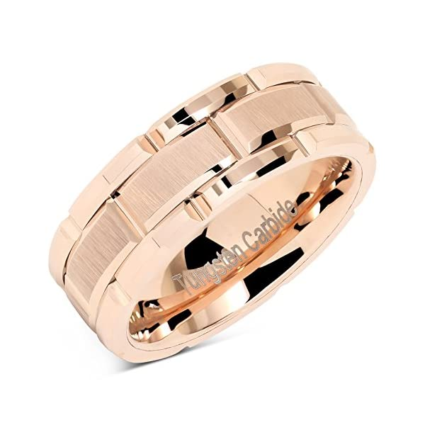 100S JEWELRY Tungsten Rings For Mens Wedding Band Rose Gold Brick Pattern Engagement Promise Jewelry Size 8-16 - 51127wXr9BL - 100S JEWELRY Tungsten Rings For Mens Wedding Band Rose Gold Brick Pattern Engagement Promise Jewelry Size 8-16