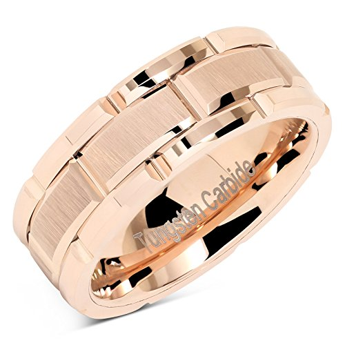 (100S JEWELRY Tungsten Rings For Mens Wedding Band Rose Gold Brick Pattern Engagement Promise Jewelry Size 8-15 (9.5))