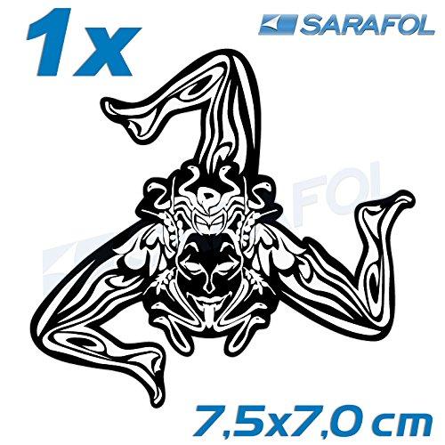 Tribale Sicilia 7,5x7,0 cm sticker Nero Trasparente 2x Adesivo Trinacria Nr.064