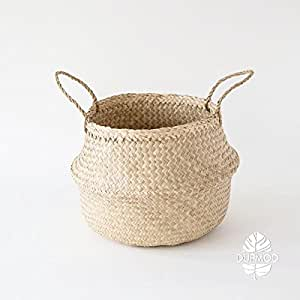 DUFMOD Large Natural Woven Seagrass Tote Belly Basket for Storage, Laundry, Picnic, Plant Pot Cover, and Beach Bag (Zigzag Chevron Natural Seagrass, Large)