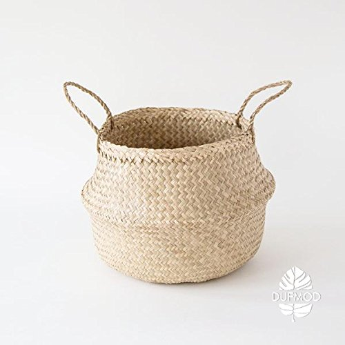 DUFMOD Small Natural Woven Seagrass Tote Belly Basket for Storage, Laundry, Picnic, Plant Pot Cover, and Beach Bag (Zigzag Chevron Natural Seagrass, Small)