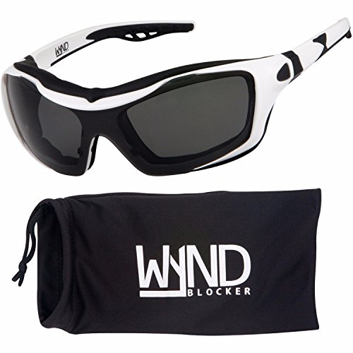 WYND Blocker Polarized Riding Sunglasses Extreme Sports Wrap Motorcycle Glasses (White / PZ - Racing Glasses