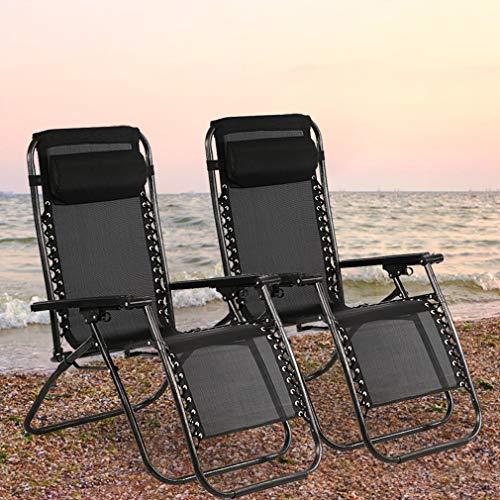 Zero Gravity Folding Recliner - BestMassage Zero Gravity Chair Patio Lounge Recliners Adjustable Folding Set of 2 for Pool Side Outdoor Yard Beach, Black
