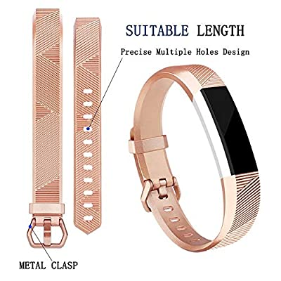 Tobfit Compatible with for Fitbit Alta Bands for Women Men Rose Gold Silver Champagne Black, Soft Waterproof Sport Bands Replacement Strap Compatible for Fitbit Alta HR/Ace, S/L Size