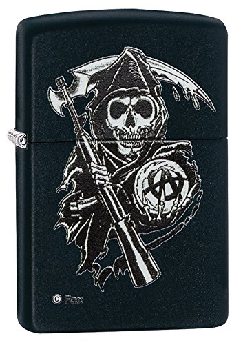 Zippo Sons Of Anarchy Grim Reaper Pocket Lighter  Black Matte