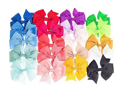 Price comparison product image Aieasyda Grosgrain Ribbon Elastics Hair Bows Ties Ponytail Holder for Baby Girls Kids Teens Toddlers women (20pc-3inch-c)