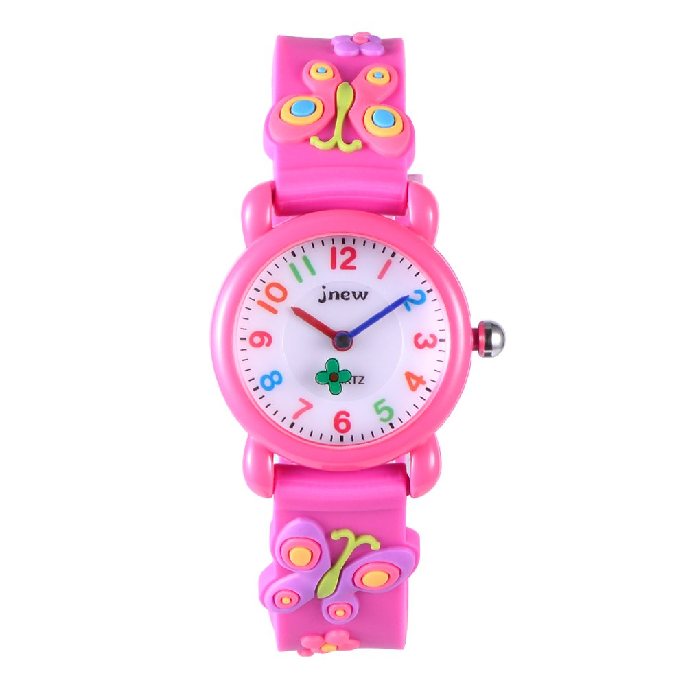 FoMass Gifts for 3-10 Year Old Boys Girls, 3D Cute Cartoon Waterproof Silicone Kids Watches Children Toddler Wrist Watches, Toys for 5-12 Year Old Boys Girls Birthday(red butterfly)