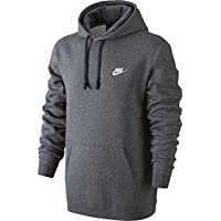 Nike Mens Sportswear Pull Over Club Hooded Sweatshirt - Small - Charcoal Heather/White