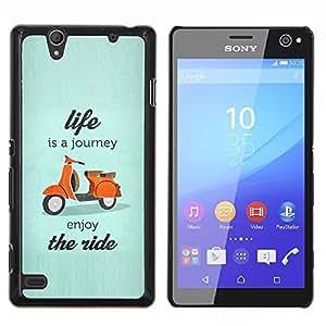 Cartel vida es un viaje scooter- Metal de aluminio y de plástico duro Caja del teléfono - Negro - Sony Xperia C4 E5303 E5306 E5353