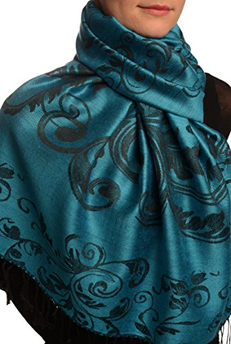 Fern Leaves On Dodger Blue Pashmina Feel With Tassels - Bleu ?charpe Taille Unique - 70cm x 180cm