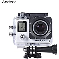 Andoer 4K 30fps/1080P 60fps Full HD 16MP Action Camera Waterproof 30m WiFi 2.0LCD Sports Helmet Bike DV Cam Camcorder 170 Degree 4X Zoom Dual Screen Car DVR (White)