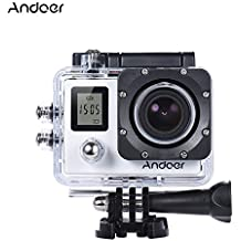 "Andoer 4K 30fps/1080P 60fps Full HD 16MP Action Camera Waterproof 30m WiFi 2.0""LCD Sports Helmet Bike DV Cam Camcorder 170 Degree 4X Zoom Dual Screen Car DVR (White)"