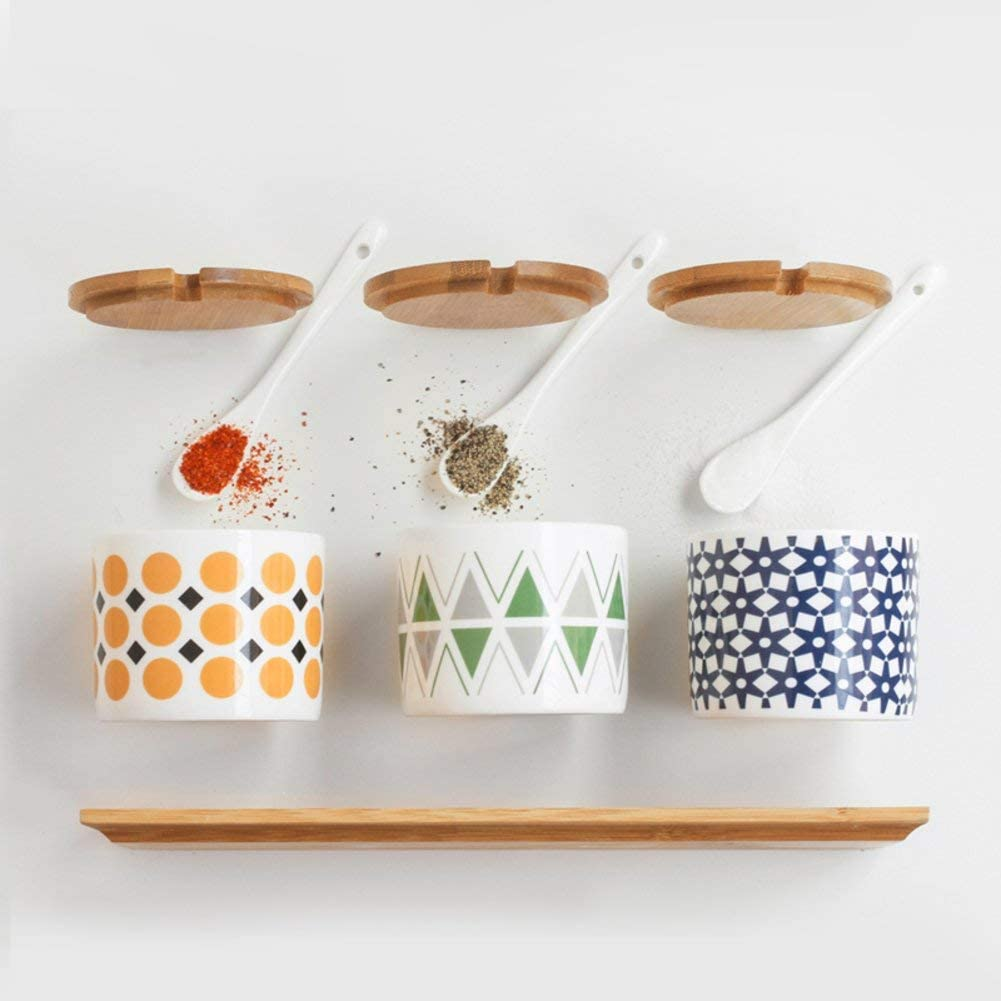 MUMUMI Spice Jar Set,Spice Storage Containers Ceramic Spice Jars with Lid Porcelain Condiment Jar Storage Containers,a