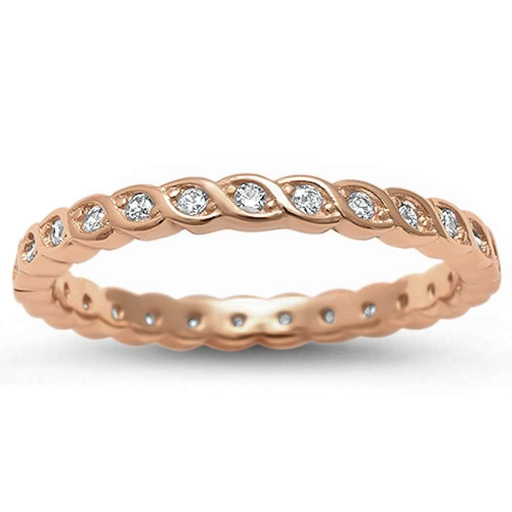 Sterling Silver Cubic Zirconia Eternity Style Ring Sizes 6