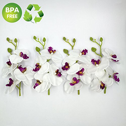 Artificial Flowers Orchid 4 Bunch (Bunch =4PCS) Handmade Flower Butterfly Bouquet Wedding Home Decoration DIY Wreath Cymbidium Orchid Artificial Plant - White Orchid Bouquets