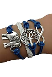 TOOPOOT Cute Handmade Charms Tree Elephant Knit Leather Rope Chain Bracelet Gift