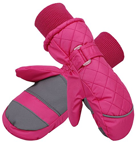 Livingston Boy's Waterproof Long Cuff Snow Sports Winter Ski Mittens, Pink, ()