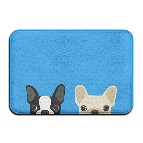 Boston Terrier French Bulldog (Boston Terrier And French Bulldog Friends Non-Slip Entrance Indoor/Outdoor/Front Door/Bathroom Mats)