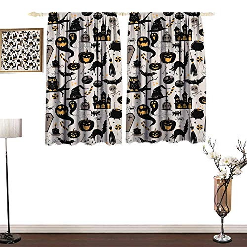 one1love Custom Curtain Vintage Halloween Halloween Cartoon Jack o Lantern Tombstone Skulls and Bones Printing Insulation W55 xL39
