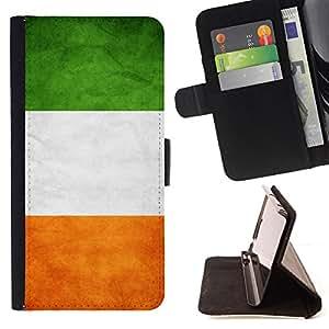 KingStore / Leather Etui en cuir / Samsung Galaxy S4 Mini i9190 / Nacional bandera de la nación País Irlanda