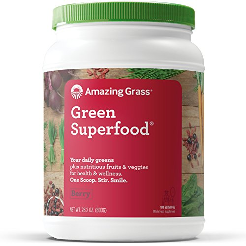 Powder Alkalizing (Amazing Grass Green Superfood Organic Powder with Wheat Grass and Greens, Flavor: Berry, 100 Servings)