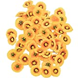 200Pcs Artificial Flowers Heads, Artificial Fake Gerbera Daisy Flowers Heads Silk Sunflowers Sun Heads for Wedding Home Party Flowers Decorations (Yellow)