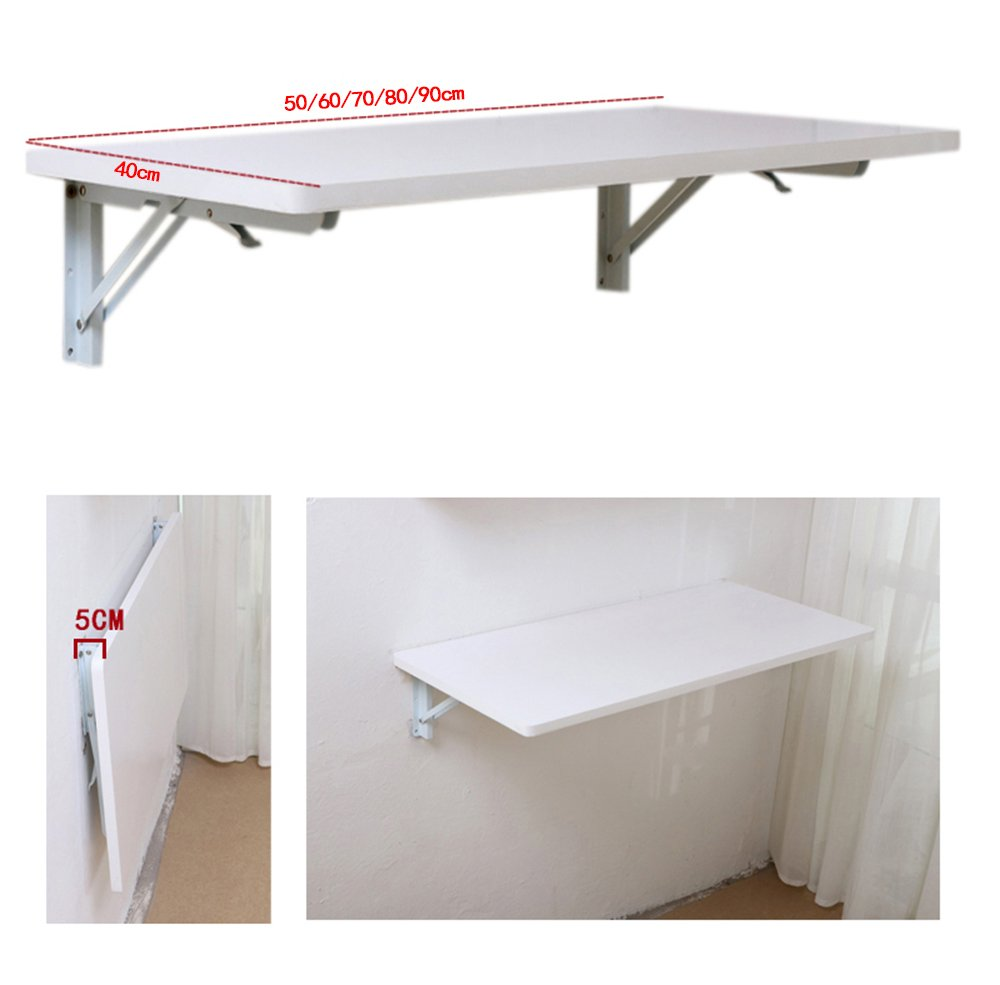 Folding Table White Wall hanging table Dining table computer desk 50/60/70/80/9040cm (Capacity : 5040cm)