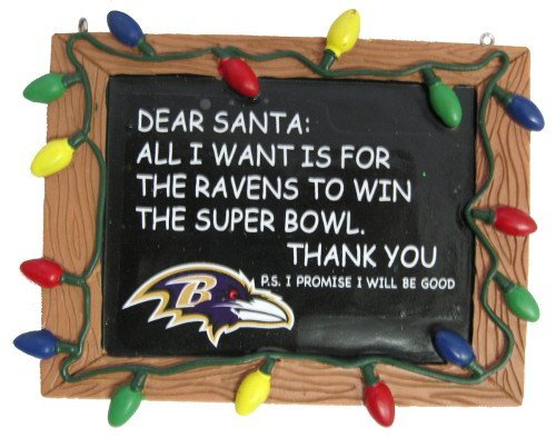 Baltimore Ravens Official NFL 3 inch x 4 inch Chalkboard Sign Christmas Ornament