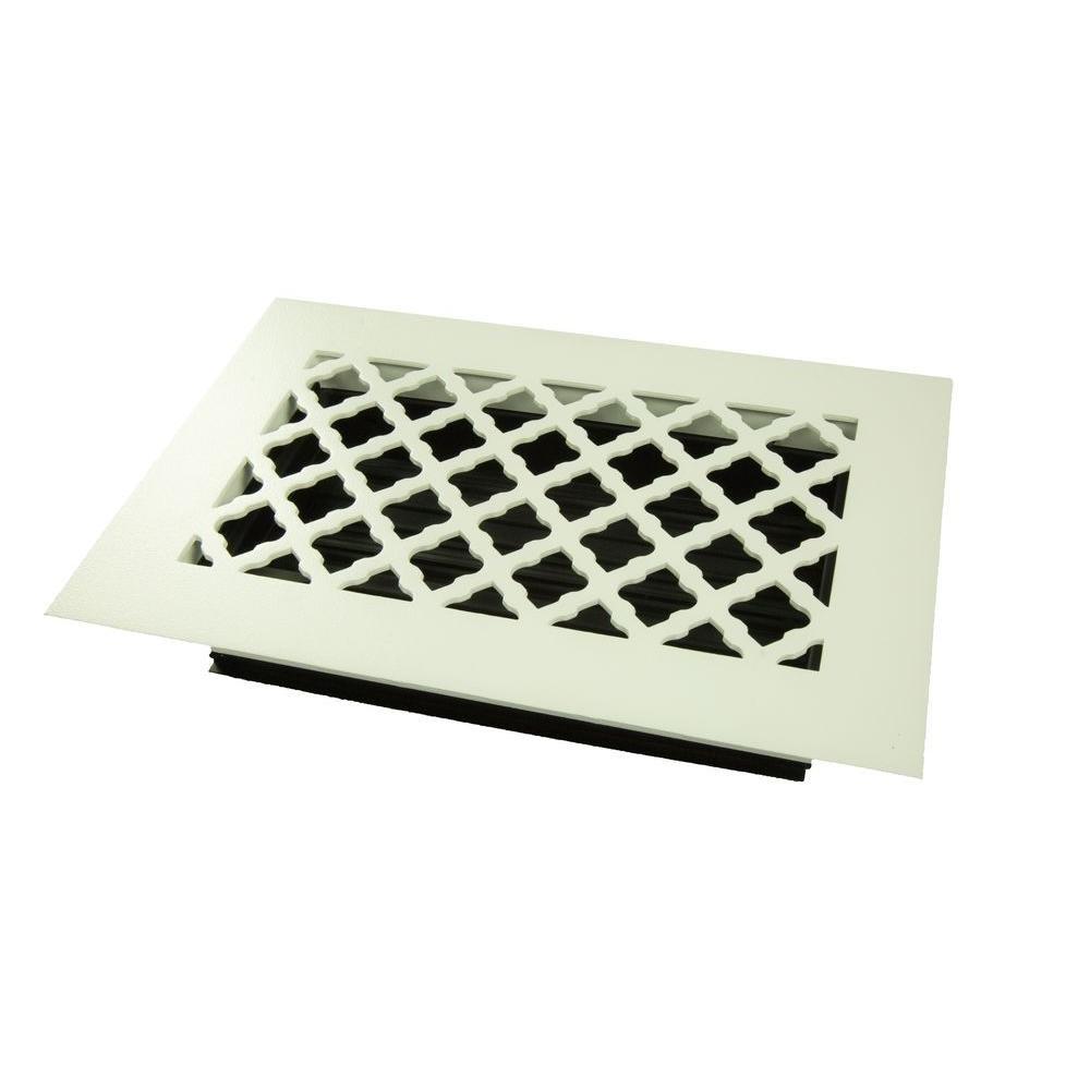 SteelCrest STU10X6SWHN Bronze Series Designer Floor Vent Cover with Air-Volume Damper, White