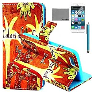 QJM Orange Floral Elephant Pattern PU Full Body Leather Case with Screen Protector and Stylus for iPhone 6 Plus