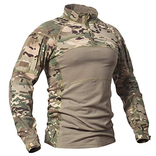 - CARWORNIC Men's Tactical Assault Combat Shirt Long Sleeve Military Uniform CP Breathable Stretchy Multicam Lightweight Cotton T Shirt