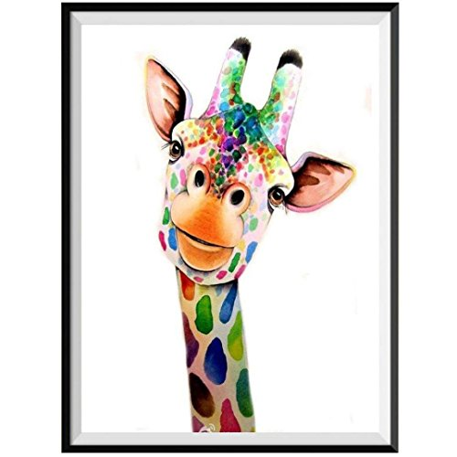 Cinhent Diamond Painting, 5D Embroidery Cross Stitch Kit Home Decors, Giraffe Abstract Animal Arts for Adults & Kids, Create Brilliant Visual Effect, 25 × 30 cm, for Office Wall ()