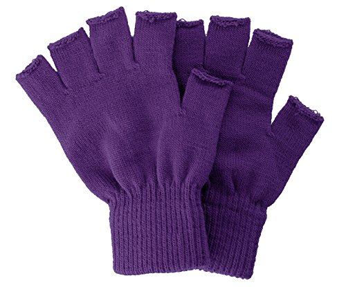 Purple Fingerless Gloves (Unisex Solid Basic Fingerless Knitted Magic Gloves Solid Color, Purple)