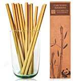 12 Reusable Bamboo Drinking Straws - 8in long straws by Chengdu Bamboo that are biodegradable and great for the environment! Each set comes in a stylish box and contains a cleaning brush.