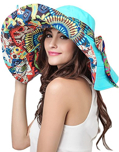 FakeFace Women's Anti-UV Sun Protective Wide Brim Reversible Sun Hat Floppy Fold Beach Hat Cap UPF 50 Blue One (Floppy Reversible Sun Hat)