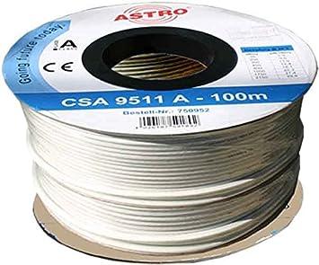 ASTRO CSA9511AR100 cable coaxial 1.13/4.8 - 2150 mhz: Amazon ...