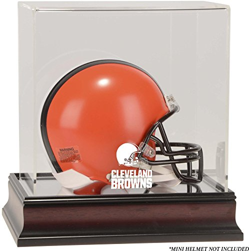Browns Logo Display Case - Cleveland Browns Mahogany Mini Helmet Logo Display Case