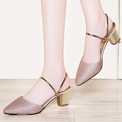 dos desgaste Baotou de elegante Zapatillas de zapatos mujer verano de Sandalias estilo Transpirable nuevo Moda silvery zapatillas ropa AJUNR Cool FZnxgwzqaI