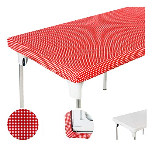 (TopTableCloth Table Cover Red & White checkered tablecloths Elastic corner Fitted Rectangular folding table 6 Foot 30